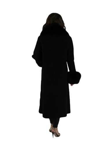 Wool Coat with Fox Fur Collar and Cuffs