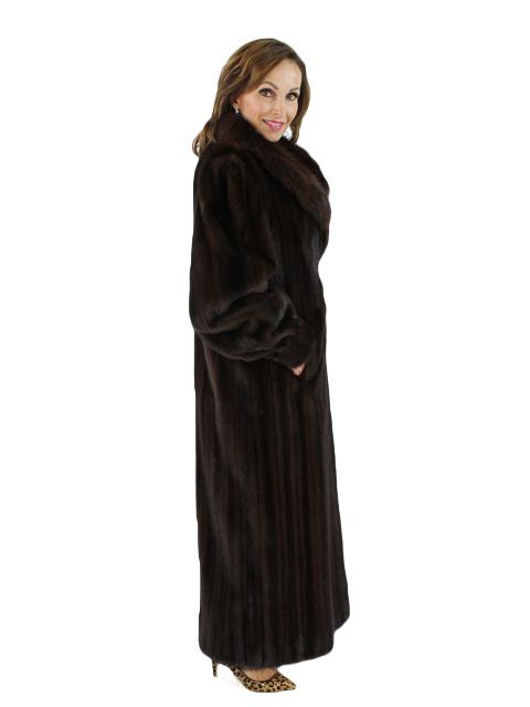 Mahogany Female Mink Coat with Sable Collar