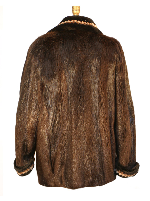 Brown Beaver Zipper Fur Jacket