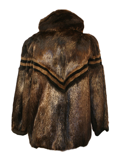 Beaver Zipper Fur Jacket w/ Hood