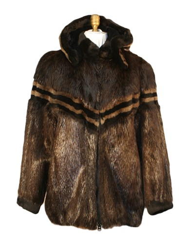 Beaver Fur Zipper Jacket w/ Hood