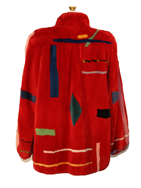Red Zuki Abstract Sheared Beaver Jacket