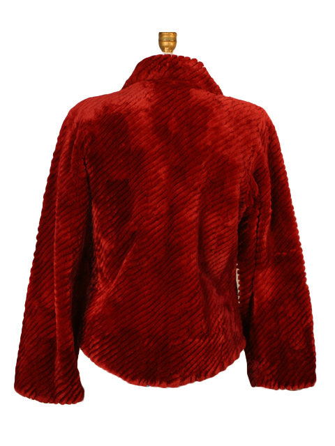 Red Ribbed Sheared Beaver Fur Jacket