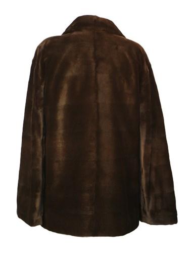 Brown Sheared Mink Jacket Reversible to Taffeta