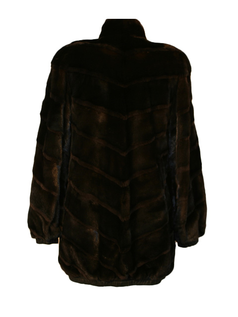 Mahogany Mink Reversible Jacket with SHeared Mink Trim