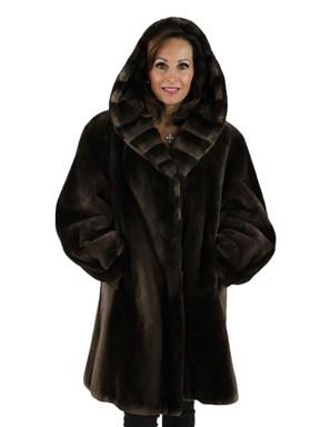 Sheared Beaver Fur Coat w/ Hood