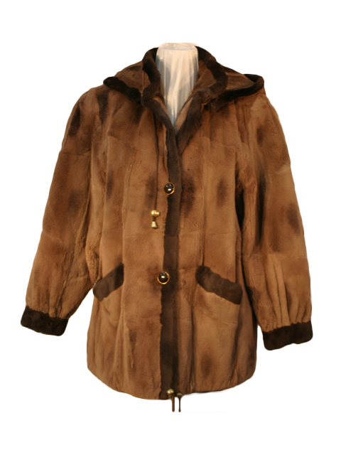 Brown Sheared Muskrat Fur Parka with Detachable Hood