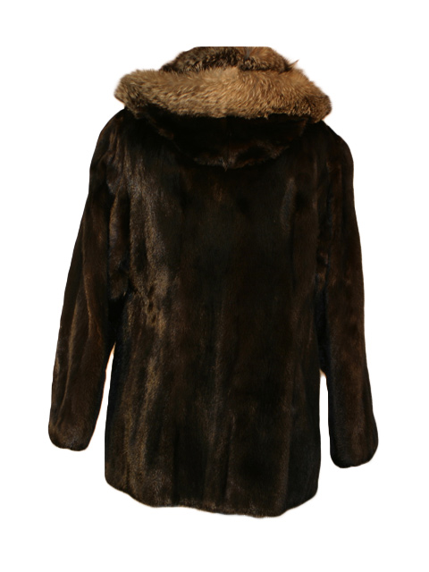 Mahgaony Mink Jacket with Detachable Hood