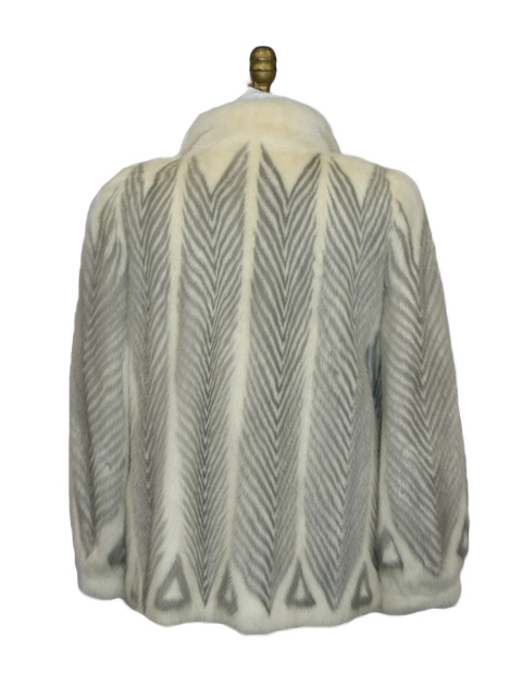 White & Grey Chevron Mink Jacket