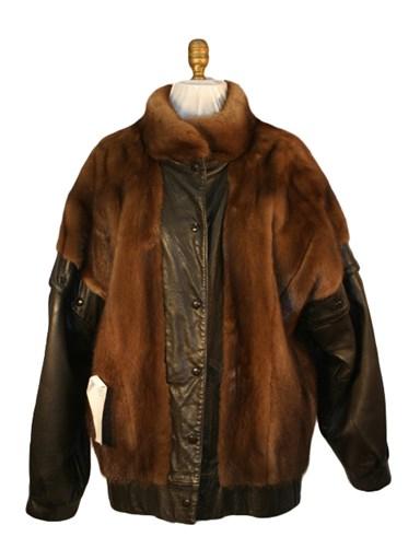Demi Buff Mink Fur Stroller w/ Leather Sleeves