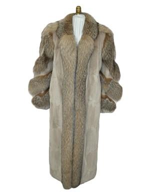 Sheared Muskrat Fur Coat w/ Fox Trim