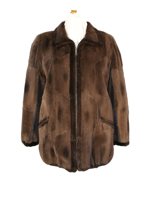Brown Sheared Muskrat Jacket Rev to Taffeta