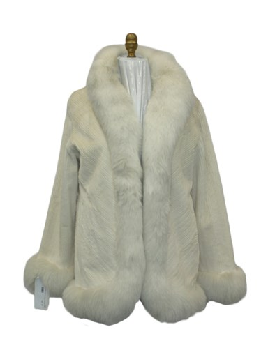 Sheared Mink Fur Jacket w/ Fox Trim