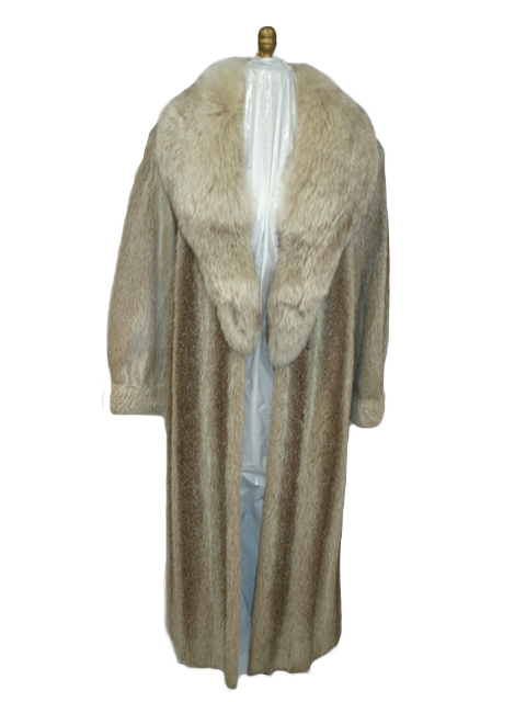 Mink Coat Value >> Nutria Fur Coat w/ Fox Collar - Women's Large - Beige | Estate Furs