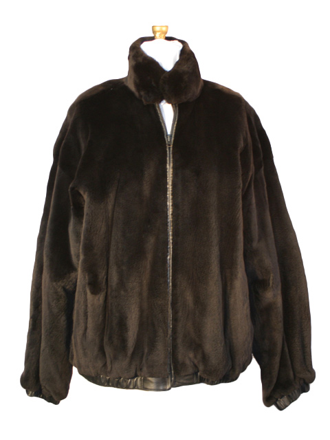Black Sheared Mink Jacket Rev to LEather