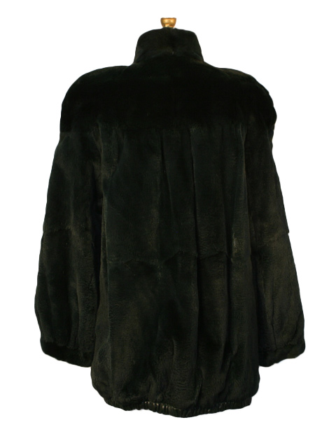 Green Sheared Mink Jacket rev to Leather