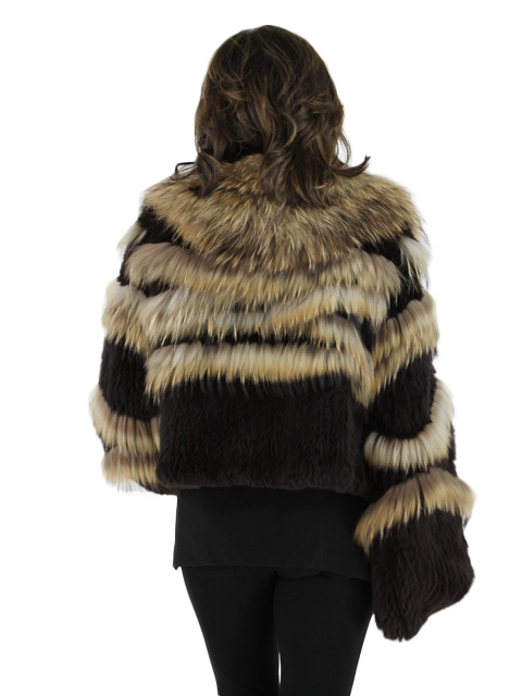 Brown Knit Rex Rabbit Fur Jacket
