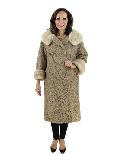 Persian Lamb Fur Coat w/ Mink Collar & Cuffs