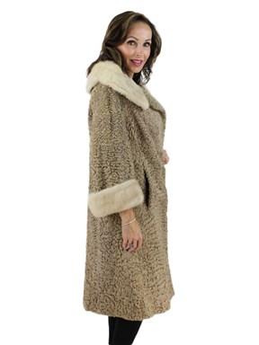 Persian Lamb Fur Coat w/ Mink Collar & Cuffs