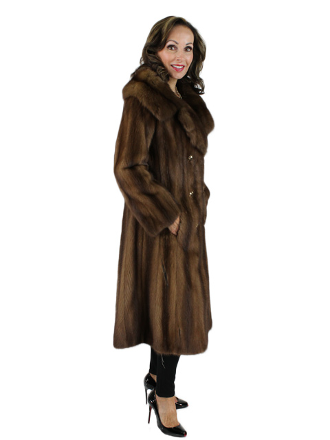 Demibuff Female Mink Coat with Sable Collar