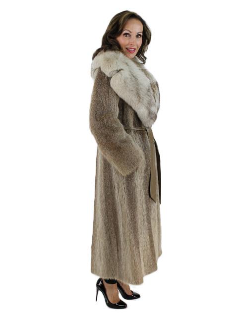 Nutria Fur Coat with Large Fox Collar