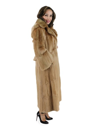 Dyed Muskrat Fur Coat w/ Detachable Hood