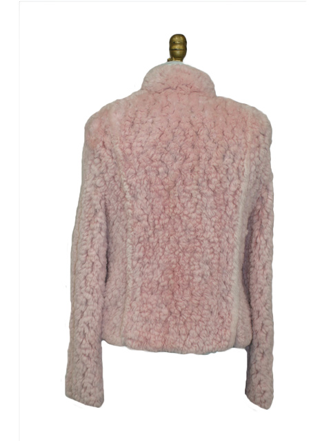 Pink Knitted Sheared Beaver Fur Jacket - Lishman