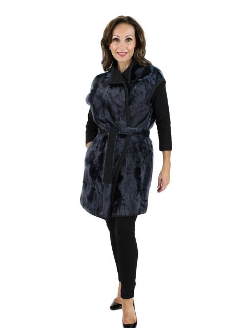 New Gorski Woman's Navy Lamb Long Fur Vest