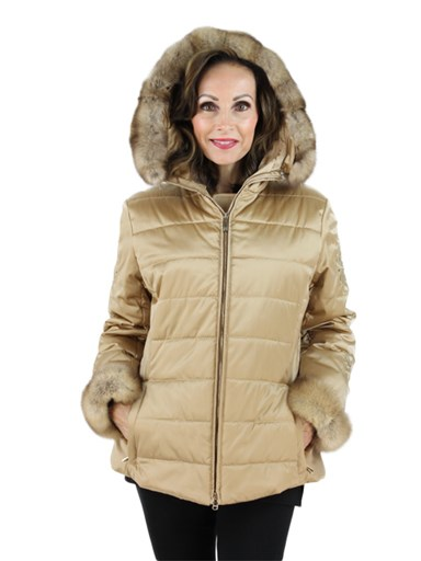 Women's fabric with sable fur jacket