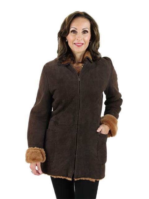 Woman's Italian Designer Brown Shearling Jacket