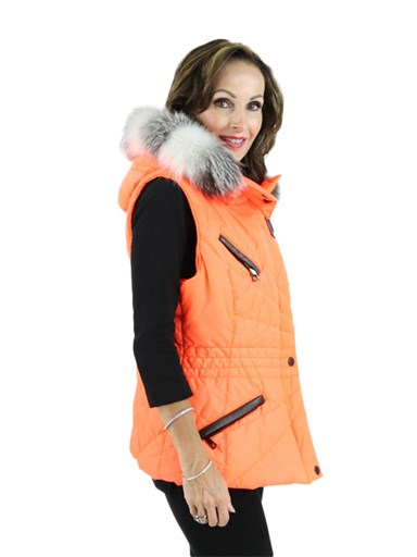 Fabric Vest w/ Fox fur Trim