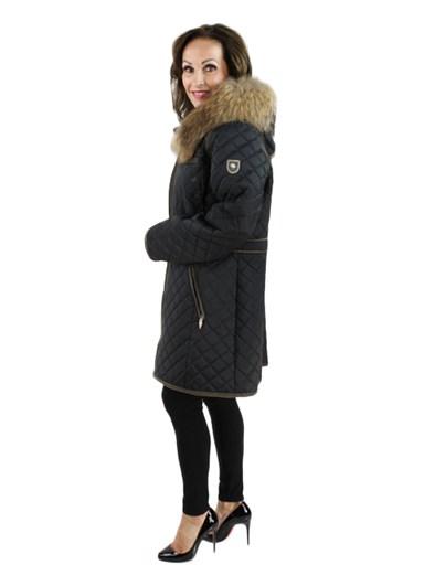 Women's black Fabric Jacket with Finn Raccoon
