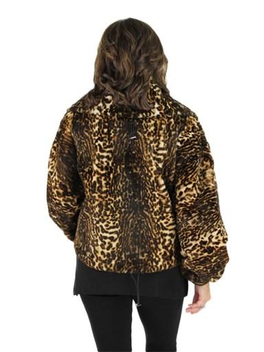 Leopard Print Sheared Rabbit Fur Fabric Jacket