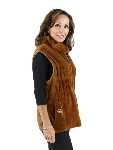 Whiskey Rex Rabbit and Leather Vest