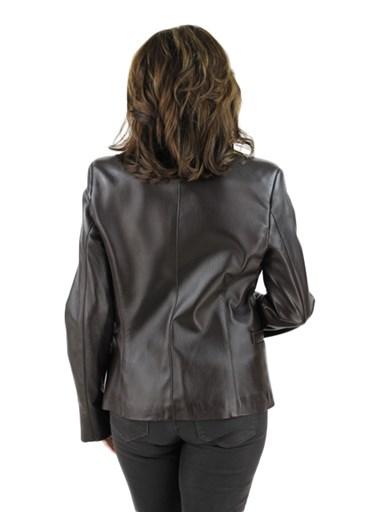 Women's brown leather blazer