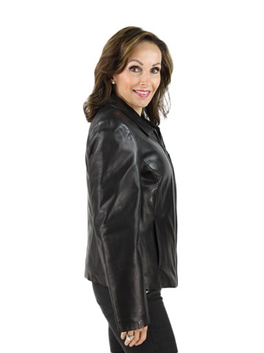 Women's black lamb leather jacket
