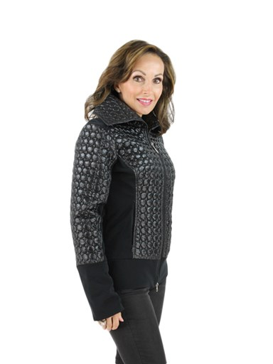 Women's black quilted bubble jacket