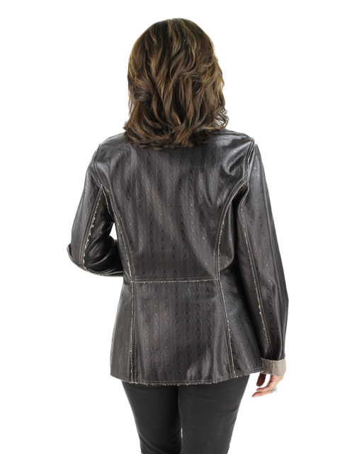 Brown Leather Knit Jacket