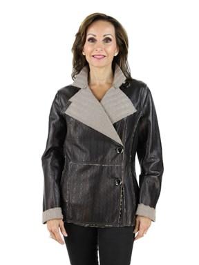 Leather Knit Jacket - Women's Medium - Brown
