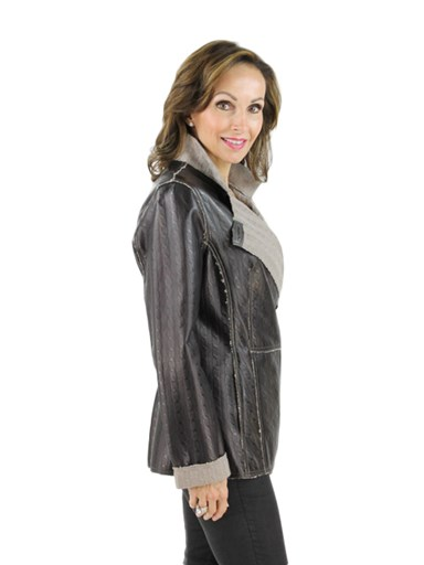 Leather Knit Jacket - Women's Medium - Brown