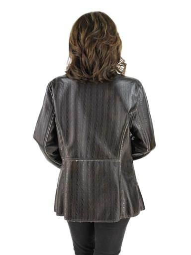 Women's brown embossed leather jacket