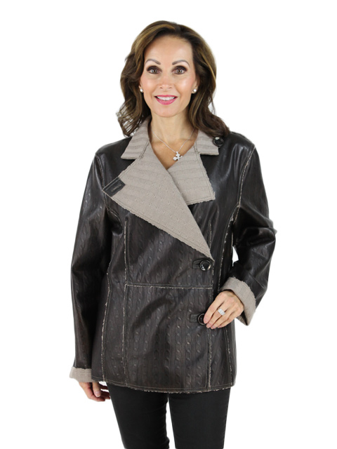 NEW Woman's Brown Leather and Knit Jacket