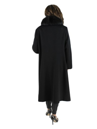Cashmere Trench Coat w/ Fox fur Collar