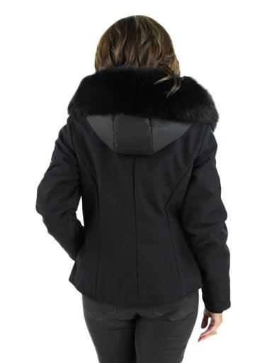 Fabric Jacket w/ Fox Fur Hood