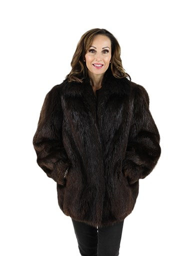 Long Hair Beaver Fur Jacket
