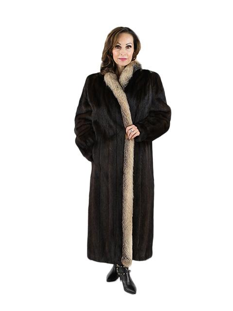 Mahogany Mink Fur Coat Crystal Fox Trim