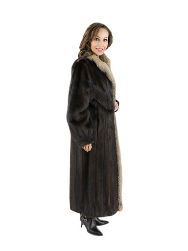Mink Fur Coat w/ Crystal Fox Trim