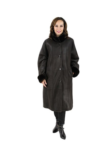 Plus Size Christ Brown Shearling Lamb Coat with Sheared Nutria Collar and Cuffs