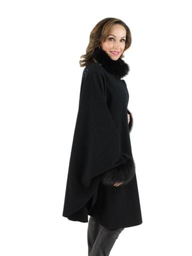 Woman's Black Cashmere Wool Cape