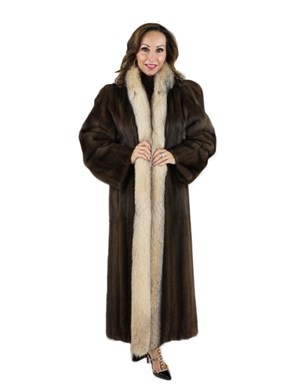 Lunaraine Mink Fur Coat with Crystal Fox